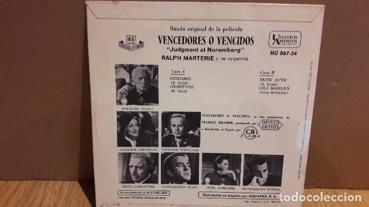 Discos de vinilo: B.S.O. VENCEDORES O VENCIDOS. / RALPH MARTERIE. EP / 1962 / MBC. ***/*** - Foto 2 - 103309555
