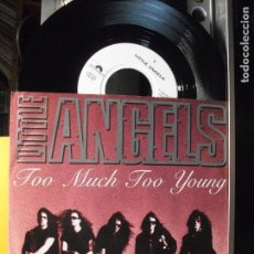 Discos de vinilo: LITTLE ANGELS - TOO MUCH TOO YOUNG / 90 IN THE SHADE (SINGLE ALEMAN DE 1992). Lote 103313227