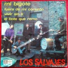 Discos de vinilo: LOS SALVAJES -MI BIGOTE EP -1967 RARO EP GARAGE BEAT. Lote 103429887