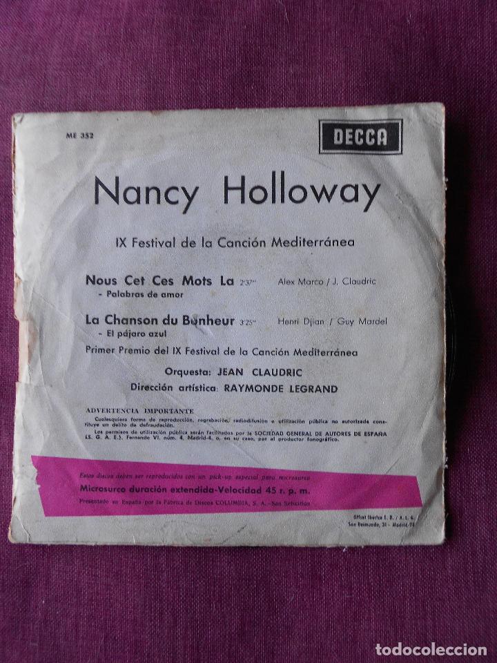 Discos de vinilo: NANCY HOLLOWAY SINGLE NOUS CET CES MOTS LA, DECCA 1967 - Foto 3 - 103487631