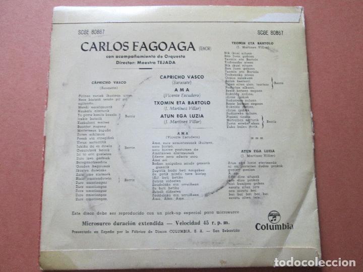Discos de vinilo: single-carlos fagoaga(tenor)-1965-columbia-scge 80867-buen estado-ver fotos - Foto 4 - 103496471