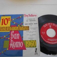Discos de vinilo: TONY DALLARA-EP ROMANTICA +3-SAN REMO 1960-NUEVO. Lote 103497627