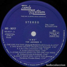 Discos de vinilo: THE JACKSON 5 (MICHAEL JACKSON) - ABC (LP) EDIC. ESPAÑOLA DE 1970 (SIN PORTADA) VG+. Lote 103561859