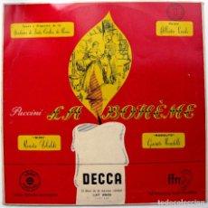 Discos de vinilo: PUCCINI - LA BOHEME (DISCO 1 DE 2 DISCOS) - ALBERTO EREDE - LP DECCA 1955 BPY. Lote 103584651