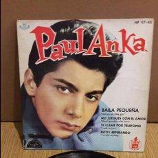 Discos de vinilo: PAUL ANKA / BAILA PEQUEÑA / EP / ABC-PARAMOUNT-1961 / MBC. ***/***. Lote 103610343
