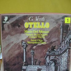 Discos de vinilo: G.VERDI. OTELLO. MARIO DEL MONACO. VICTORIA DE LOS ANGELES. METROPOLITAN OPERA. 3 LP'S + LIBRETO.. Lote 103662395