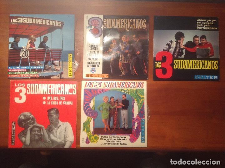 LOS 3 SUDAMERICANOS 5 SINGLES 45RPM (Música - Discos - Singles Vinilo - Grupos Españoles 50 y 60)