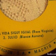 Discos de vinilo: ROSA VIRGINIA 1966 VENEZOLANA, JULIO IGLESIAS, LA VIDA SIGUE IGUAL. Lote 103715691