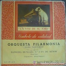 Discos de vinilo: ORQUESTA FILARMONÍA, RUDOLF SCHWARZ – RAPSODIA HÚNGARA Nº 2 EN DO MENOR - SINGLE 1958. Lote 103726207