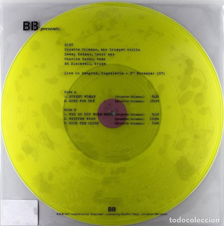 ORNETTE COLEMAN * LP 180G * LIVE IN BEOGRAD YUGOSLAVIA 2-11-1971 * PRECINTADO * 500 COPIAS!!! (Música - Discos - LP Vinilo - Jazz, Jazz-Rock, Blues y R&B)