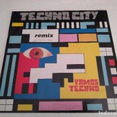 Discos de vinilo: TECHNO CITY - VAMOS TECHNO (REMIX) / MAXI SINGLE IMPORT TEMAZOS RUTA DESTROY VALENCIA. Lote 103770819