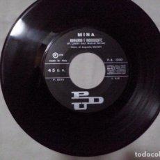 Discos de vinilo: MUSICA SINGLE: MINA - BUGIARD E INCOSCIENTE / UNA MEZZA DOZZINA DI ROSE. SOLO DISCO (ABLN). Lote 103786679