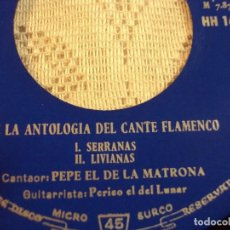 Discos de vinilo: DE LA ANTOLOGÍA DEL ARTE FLAMENCO VOL. VIII. Lote 103806775