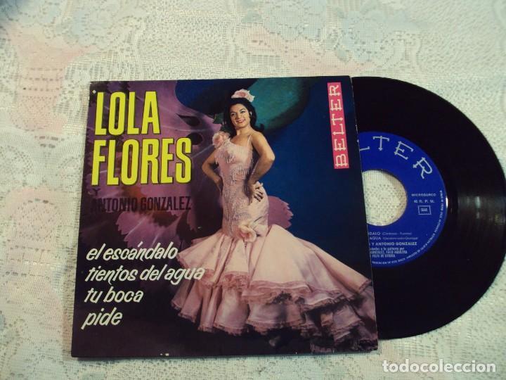VINILO, LOLA FLORES Y ANTONIO GONZALEZ BELTER 1964 TIENTOS DEL AGUA/ EL ESCANDALO /TU BOCA/PIDE (Música - Discos de Vinilo - Maxi Singles - Flamenco, Canción española y Cuplé)