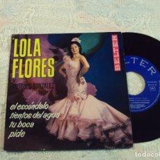 Discos de vinilo: VINILO, LOLA FLORES Y ANTONIO GONZALEZ BELTER 1964 TIENTOS DEL AGUA/ EL ESCANDALO /TU BOCA/PIDE. Lote 103807555