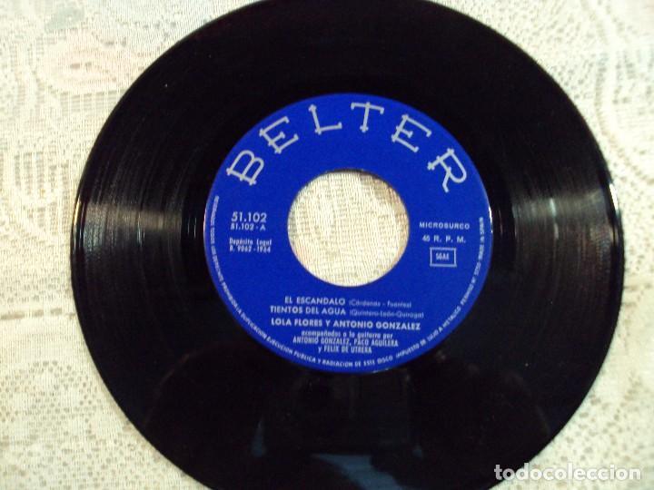 Discos de vinilo: VINILO, LOLA FLORES Y ANTONIO GONZALEZ BELTER 1964 TIENTOS DEL AGUA/ EL ESCANDALO /TU BOCA/PIDE - Foto 2 - 103807555