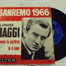 Discos de vinilo: PLINIO MAGGI : SINGLE 1966 BELTER 07-244 , SAN REMO 66, EDICIÓN ESPAÑOLA.. Lote 103808275