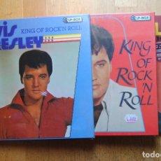 Discos de vinilo: ELVIS PRESLEY. THE KING OF THE ROCK. 3 CAJAS BOX. X 3 LP'S GERMANY. COLLECTORS. PRECINTADOS. Lote 103832855