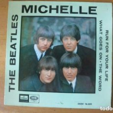 Discos de vinilo: DISCO SINGLE BEATLES MICHELLE. DISCO AZUL CLARO. ODEON -EMI COMPARTIR LOTE. Lote 103875967