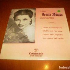 Discos de vinilo: EP : GRACIA MONTES : CARIA LA SANLUQUEÑA + 3 EX. Lote 103877003