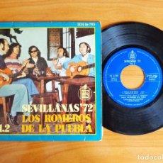 Discos de vinilo: SINGLE VINILO 'SEVILLANAS 72 VOL 2 - LOS ROMEROS DE LA PUEBLA'.. Lote 103884027