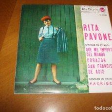 Discos de vinilo: EP : RITA PAVONE : QUE ME IMPORTA EL MUNDO + 3 SPAIN 1964. Lote 103884983