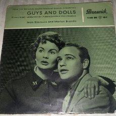 Discos de vinilo: EP GUYS AND DOLLS JEAN SIMMONS AND MARLON BRANDO. Lote 104041562