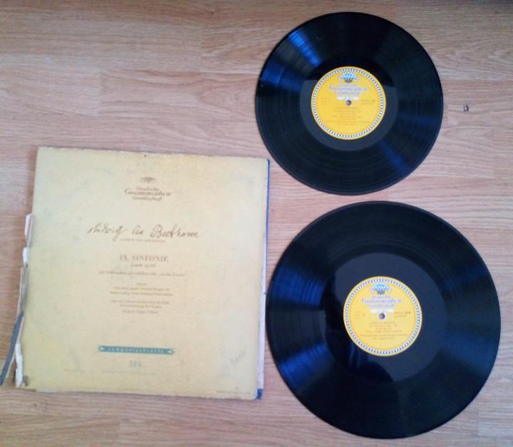 BEETHOVEN 2 DISCOS Y ALBUM 1952 1A. EDICIÓN ALEMANIA DEUTSCHE GRAMMOPHON GESELLSCHAFT IX SINFONIE (Música - Discos - Singles Vinilo - Clásica, Ópera, Zarzuela y Marchas)