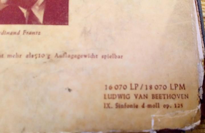 Discos de vinilo: BEETHOVEN 2 DISCOS Y ALBUM 1952 1a. EDICIÓN ALEMANIA DEUTSCHE GRAMMOPHON GESELLSCHAFT IX SINFONIE - Foto 13 - 104060871