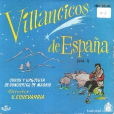 Discos de vinilo: COROS Y ORQUESTA DE CONCIERTOS DE MADRID- VILLANCICOS DE ESPAÑA EP 1958 SPAIN 5 TEMAS. Lote 104064875