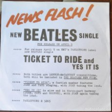 Discos de vinilo: BEATLES. TICKET TO RIDE. YES IT IS. PARLOPHONE R 5265. DISCO EX. FUNDA CARPETA FOLIO ABIERTO. VER FO. Lote 104080103
