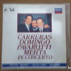 Discos de vinilo: SINGLE - CARRERAS,DOMINGO,PAVAROTTI,METHA EN CONCIERTO - DECCA TRES T - 1990 - PROMO. Lote 104082523