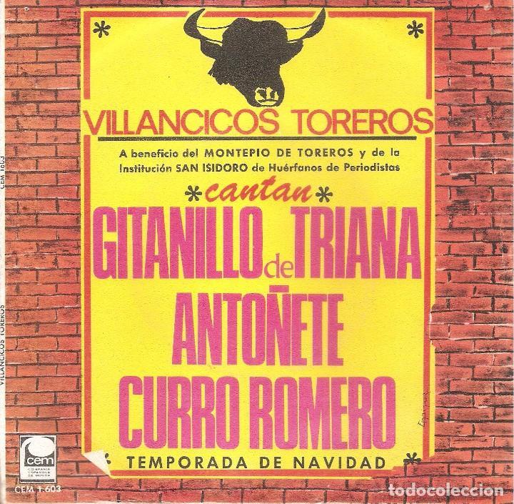 VILLANCICOS TOREROS - GITANILLO DE TRIANA + ANTOÑETE + CURRO ROMERO - BALADA DE NAVIDAD SINGLE-1967 (Música - Discos - Singles Vinilo - Flamenco, Canción española y Cuplé)