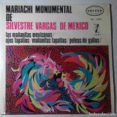 Discos de vinilo: MARIACHI MONUMENTAL DE SILVESTRE VARGAS DE MÉXICO – LAS MAÑANITAS MEXICANAS - EP SPAIN 1964. Lote 104182091