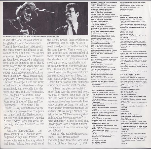 Discos de vinilo: dion & the belmonts - yo frankie - lou reed, patty smith,p simon, doo-wop - org edt + inserto, ex - Foto 6 - 104280304