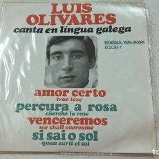 Discos de vinilo: LUIS OLIVARES CANTA EN LINGUA GALEGA: AMOR CERTO + 3-EP- (EDIGSA- GALAXIA 1967)-N. Lote 104295311