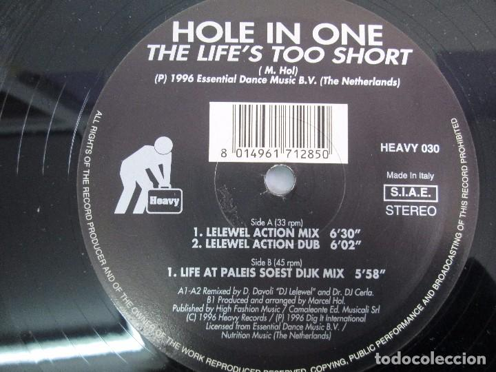 Discos de vinilo: HOLE IN ONE. THE LIFE´S TOO SHORT. BLACK AND SILVER. 1996. VER FOTOGRAFIAS ADJUNTAS - Foto 6 - 104328823