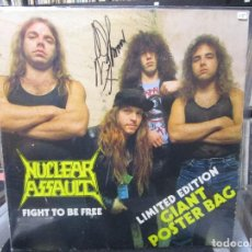 Discos de vinilo: NUCLEAR ASSAULT - FIGHT TO BE FREE /POSTERSLEEVE/FIRMADO POR LILKER . Lote 104342175
