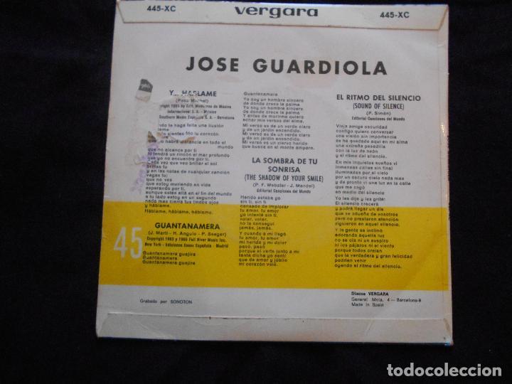 Discos de vinilo: JOSE GUARDIOLA // LA SOMBREA DE TU SONRISA + 3 - Foto 2 - 104388771