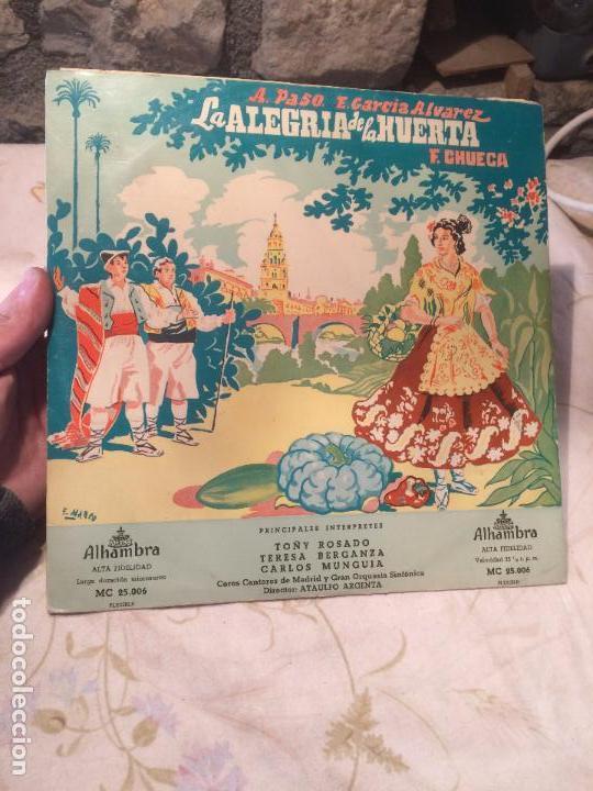 ANTIGUO DISCO VINILO ZARZUELA LA ALEGRIA DE LA HUERTA F. CHUECA (Música - Discos - LP Vinilo - Orquestas)