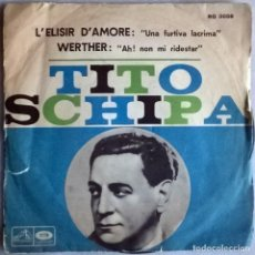 Discos de vinilo: TITO SCHIPA. L'ELISIR D'AMORE (UNA FURTIVA LACRIMA)/ WERTHER (AH! NON MI RIDESTAR). ITALIA 1957. Lote 104546939