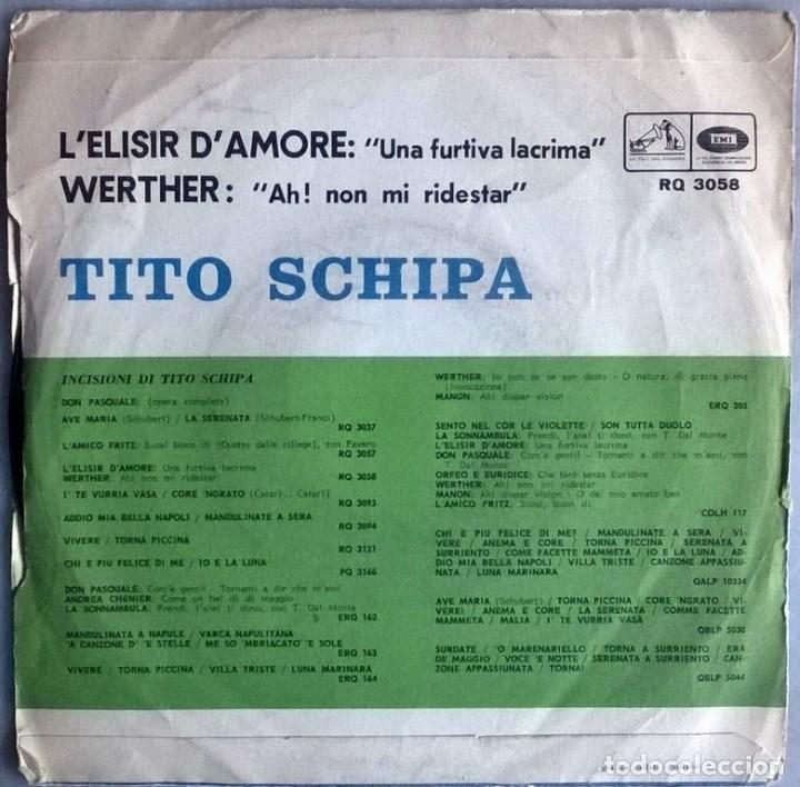 Discos de vinilo: Tito Schipa. Lelisir damore (una furtiva lacrima)/ Werther (Ah! non mi ridestar). Italia 1957 - Foto 2 - 104546939