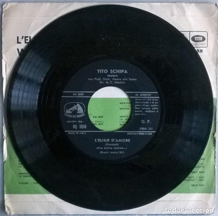 Discos de vinilo: Tito Schipa. Lelisir damore (una furtiva lacrima)/ Werther (Ah! non mi ridestar). Italia 1957 - Foto 4 - 104546939