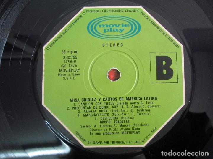 Discos de vinilo: MISA CRIOLLA Y CANTOS DE AMERICA LATINA. GRUPO TOLDERIA. LP VINILO. MOVIEPLAY 1975. VER FOTOS - Foto 8 - 104604315