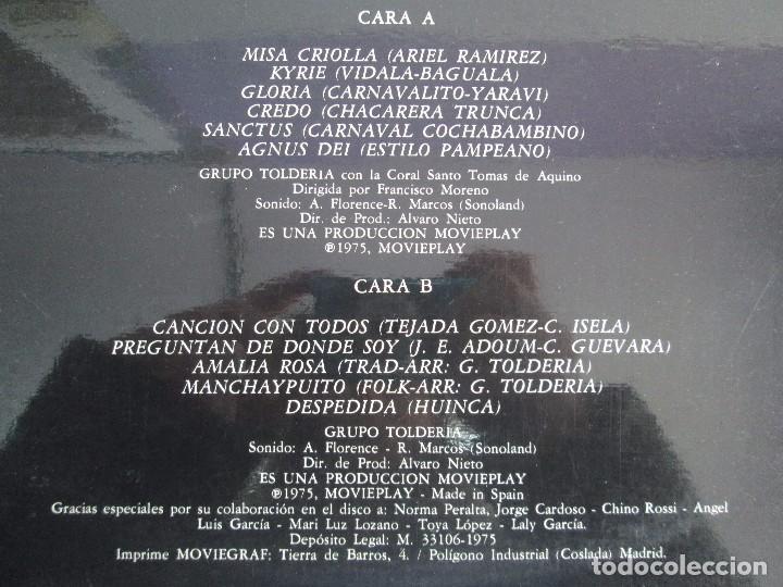 Discos de vinilo: MISA CRIOLLA Y CANTOS DE AMERICA LATINA. GRUPO TOLDERIA. LP VINILO. MOVIEPLAY 1975. VER FOTOS - Foto 9 - 104604315