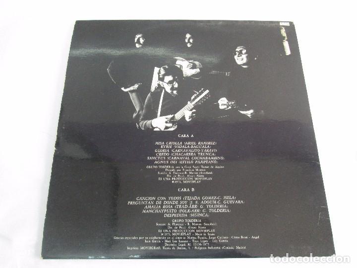 Discos de vinilo: MISA CRIOLLA Y CANTOS DE AMERICA LATINA. GRUPO TOLDERIA. LP VINILO. MOVIEPLAY 1975. VER FOTOS - Foto 10 - 104604315
