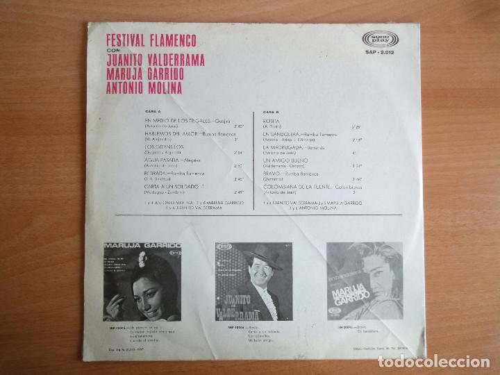 Discos de vinilo: LP Vinilo. Festival Flamenco, con Valderrama, Molina y Garrido (Sono Play 1967) - Foto 2 - 104680627