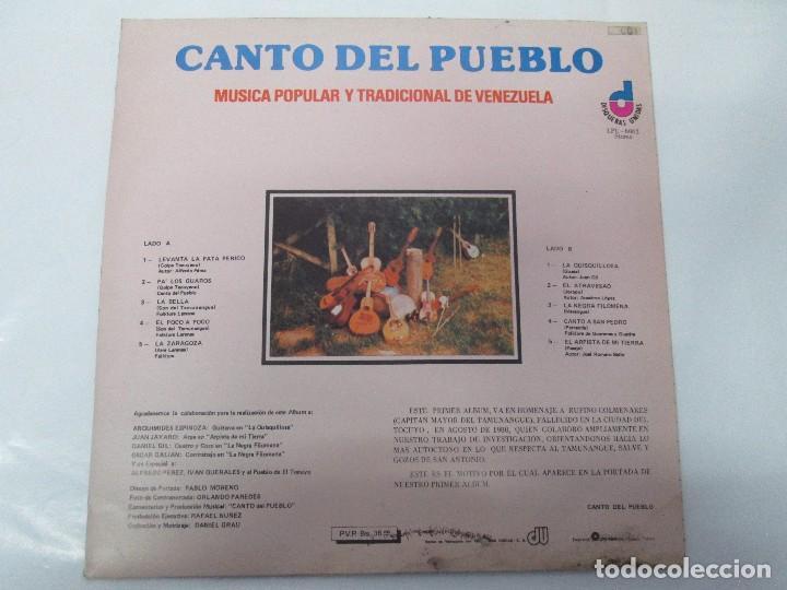 Discos de vinilo: CANTO DEL PUEBLO. MUSICA POPULAR Y TRADICIONAL DE VENEZUELA. LP VINILO. 1981. DISQUERAS UNIDAS - Foto 6 - 104744867