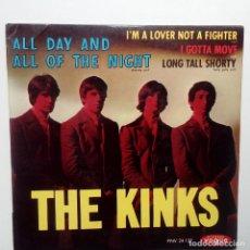 Discos de vinilo: THE KINKS- ALL DAY AND ALL OF THE NIGHT - FRENCH EP 1964 + LENGÜETA- EN BUEN ESTADO.. Lote 104875623
