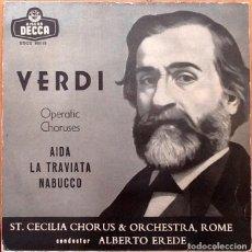 Discos de vinilo: VERDI - ALBERTO EREDE : COROS DE OPERAS [ESP 1958]. Lote 104875807